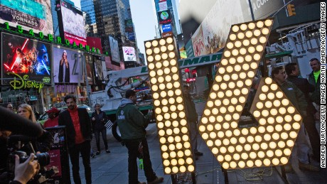 "NEW YORK, NY - DECEMBER 15:  The numerals ""1"" and ""6,"" to be used to spell out ""2-0-1-6"" during the Times Square New Years Eve celebration, are unveiled in Times Square on December 15, 2015 in New York City. The ""2-0-1-6"" are powered by 516  L.E.D. bulbs.  (Photo by Andrew Burton/Getty Images)"