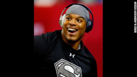 Cam Newton #1 of the Carolina Panthers warms up prior to the game against the Atlanta Falcons at the Georgia Dome on December 27 in Atlanta, Georgia.