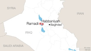 Hundreds of families have fled fighting in Ramadi for a camp 25 miles east in Habbaniyah.