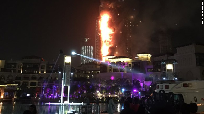 Dubai resident, Joseph Tobing said he was waiting for the fireworks to begin and all of a sudden around 930p local time the fire broke out. Tobing says the fire has become