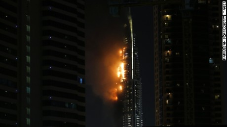 Flames rip through the Address Downtown hotel after it was hit by a massive fire, near the world's tallest tower, Burj Khalifa, in Dubai, on December 31, 2015. People were gathering to watch New Year's Eve celebrations when the hotel caught on fire, with the cause of the blaze still unknown according to the emirate's police chief. AFP PHOTO / KARIM SAHIB / AFP / KARIM SAHIB        (Photo credit should read KARIM SAHIB/AFP/Getty Images)