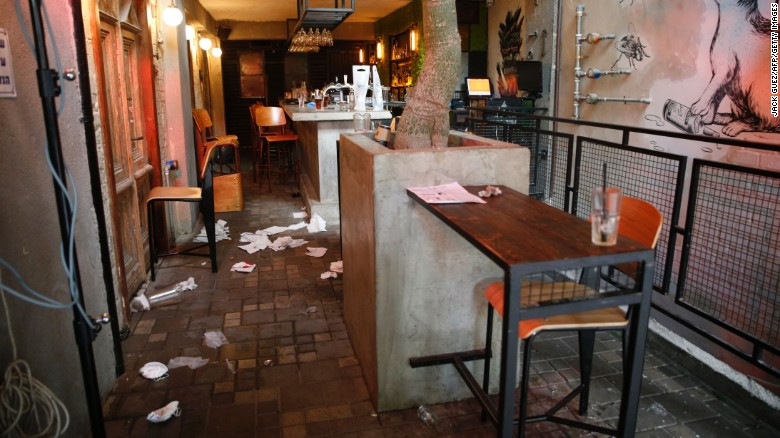 A general view shows the inside of a pub after an unidentified gunman opened fire killing two people and wounding five others in the Israeli city of Tel Aviv on January 1, 2016, police and medical officials said. An eyewitness told Channel 1 television the assailant used an automatic weapon against people at a pub. AFP PHOTO / JACK GUEZ / AFP / JACK GUEZ (Photo credit should read JACK GUEZ/AFP/Getty Images)