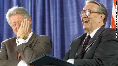 US President Bill Clinton (L) laughs with former US Senator Dale Bumpers(D-AR) during the National Institutes of Health dedication ceremony of the Dale and Betty Bumpers Vaccine Research center 09 June 1999 in Bethesda, MD.