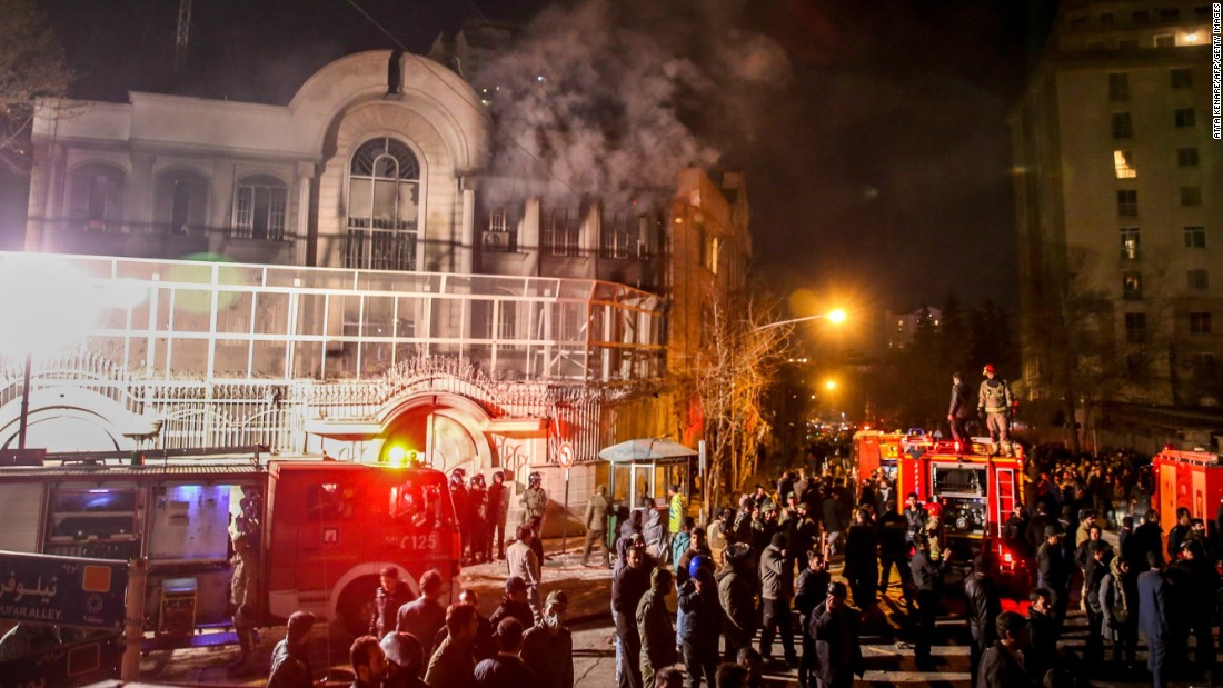 Protesters set fire to the Saudi Embassy in Tehran on Saturday, January 2, during a demonstration against the execution of prominent Shiite Muslim cleric Nimr al-Nimr by Saudi authorities. Nimr was a driving force of the protests that broke out in 2011 in Saudi Arabia's east, an oil-rich region where the Shiite minority of an estimated 2 million people complains of marginalization.