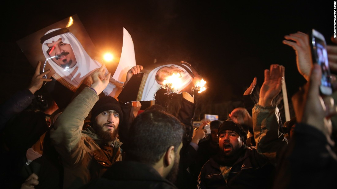 "Iranian protesters gather outside the Saudi Embassy in Tehran. Saudi Arabia said it executed ""terrorists"" and told Iran to stay out of its internal affairs."