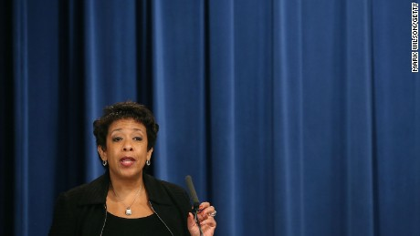 Attorney General Loretta Lynch speaks during a meeting at the Justice Department on December 15, 2015, in Washington.