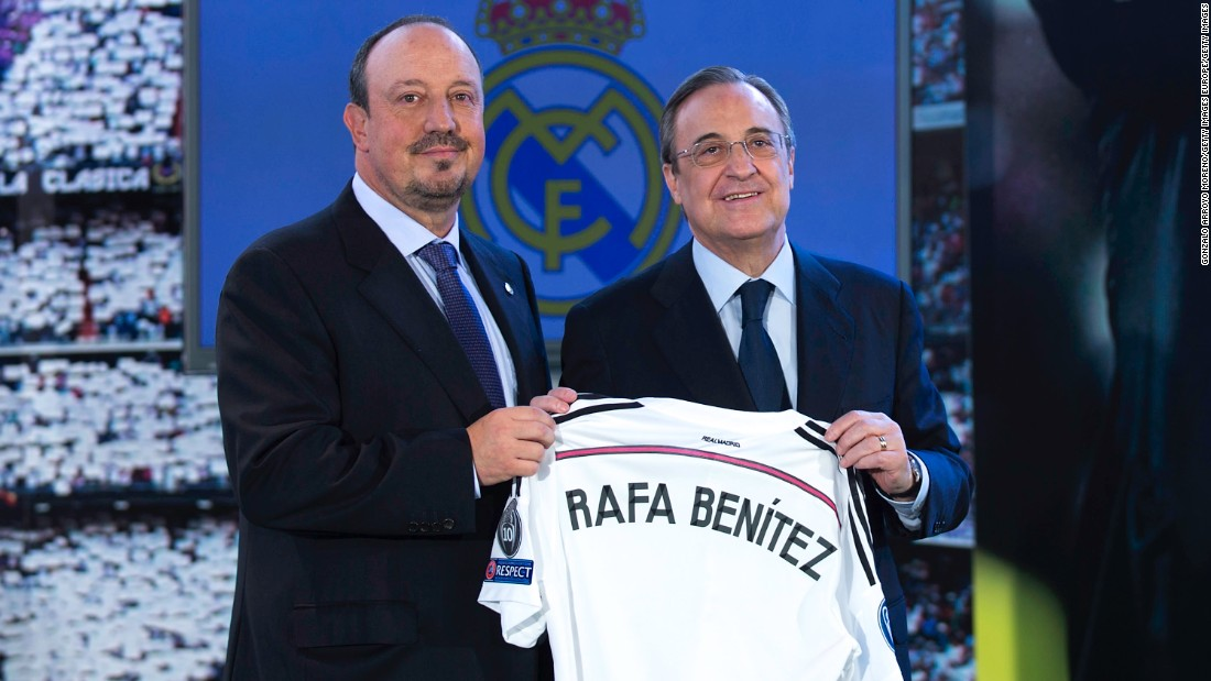 Benitez was unveiled as Real Madrid manager in June by club president Florentino Perez. Just seven months later, he's departed.