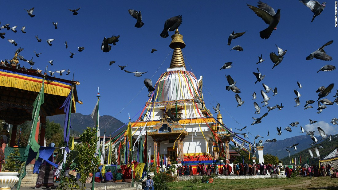 Flanked by India and China, Bhutan has a rich Buddhist culture. The Memorial Chorten Monastery (pictured) is located in Thimphu.
