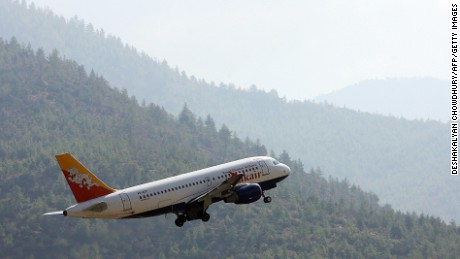 Drukair is one of two airlines that operate flights to and from Bhutan.