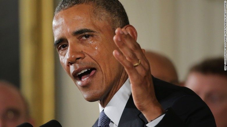 WASHINGTON, DC - JANUARY 05:  With tears running down his cheeks, U.S. President Barack Obama talks about the victims of the 2012 Sandy Hook Elementary School shooting and about his efforts to increase federal gun control in the East Room of the White House January 5, 2016 in Washington, DC. Without approval from Congress, Obama is sidestepping the legislative process with executive actions to expand background checks for some firearm purchases and step up federal enforcement of existing gun laws.  (Photo by Chip Somodevilla/Getty Images)