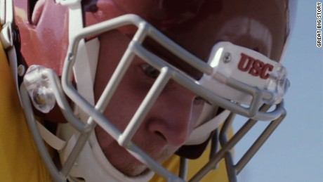 Jake Olson doesn't look at football like his teammates. The long snapper for the University of Southern California is blind.