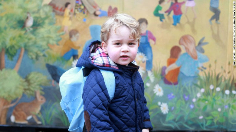 Britain's Prince George poses for a picture taken by his mother Catherine, Duchess of Cambridge, on his first day of nursery school Wednesday, January 6, in Norfolk, England.