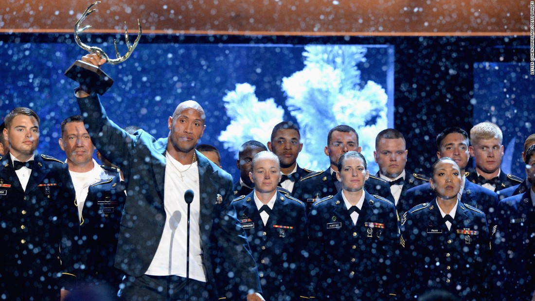 """Johnson had members of the U.S. military join him onstage at Spike's 2015 Guys Choice Awards, where he received the Hero Award. He announced a special, """"Rock the Troops,"""" that will air on Veterans Day 2016."""