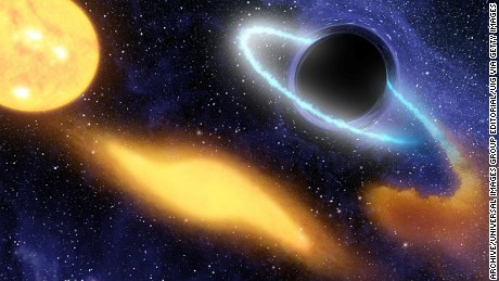 Supermassive black hole at the center of a remote galaxy digesting the remnants of a star.