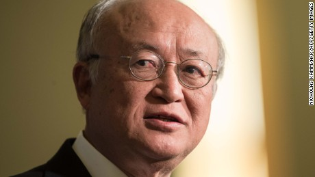 Yukiya Amano, Director General of the International Atomic Energy Agency (IAEA), speaks at the Carnegie International Nuclear Policy Conference in Washington, DC, on March 23, 2015.    AFP PHOTO/NICHOLAS KAMM        (Photo credit should read NICHOLAS KAMM/AFP/Getty Images)
