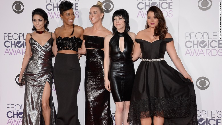 Actress-singers Vanessa Hudgens, from left, Keke Palmer, Julianne Hough, Carly Rae Jepsen and Kether Donohue attend the People's Choice Awards 2016 in Los Angeles on Wednesday, January 6.