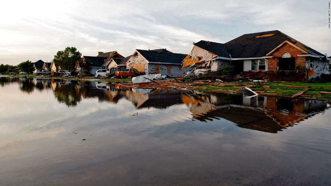 Water laps up to damaged homes in Coal City, Illinois, on June 24 a day after a tornado struck the area.  The tornado was part of a thunderstorm complex that spawned more than  1,200 reports of severe weather from the Midwest through the Northeast. These included strong winds, large hail, and as many as 40 tornadoes in a 48-hour period from June 21-23.<br />