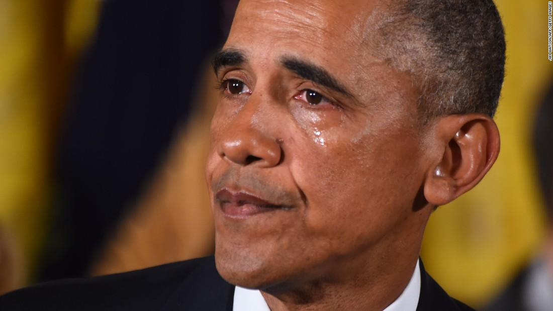 U.S. President Barack Obama cries Tuesday, January 5, as he delivers a statement on his executive action to reduce gun violence.