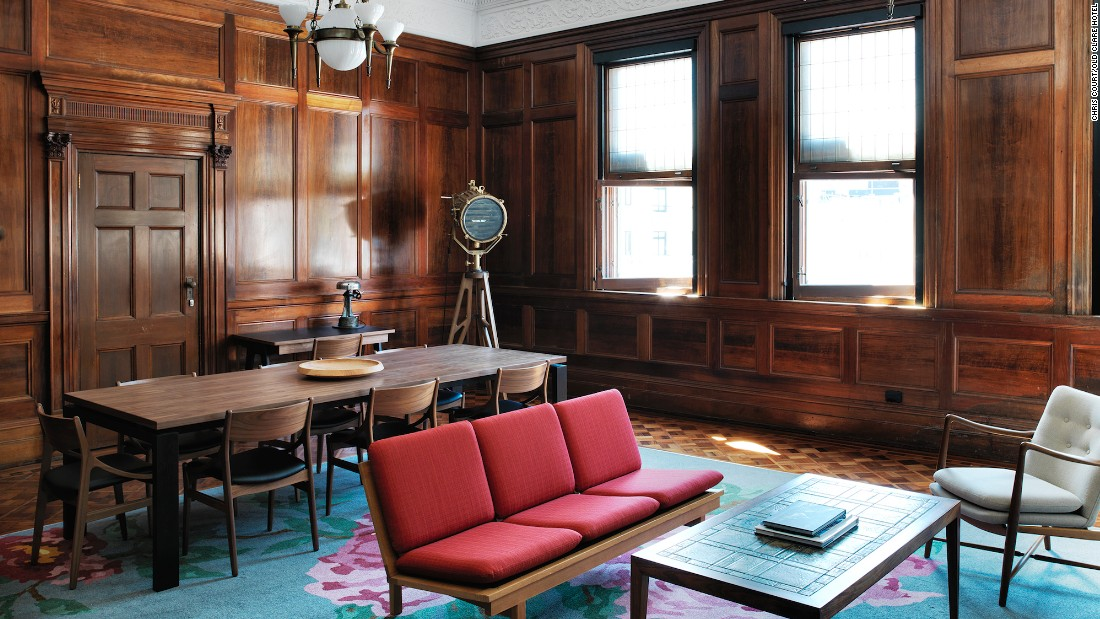 The Old Clare Hotel is a 62-room boutique property made up of two heritage-listed buildings -- an old pub and the Carlton Breweries administration building. The fanciest room is the 100-square-meter Cub suite (pictured), located in the former Carlton Breweries boardroom.