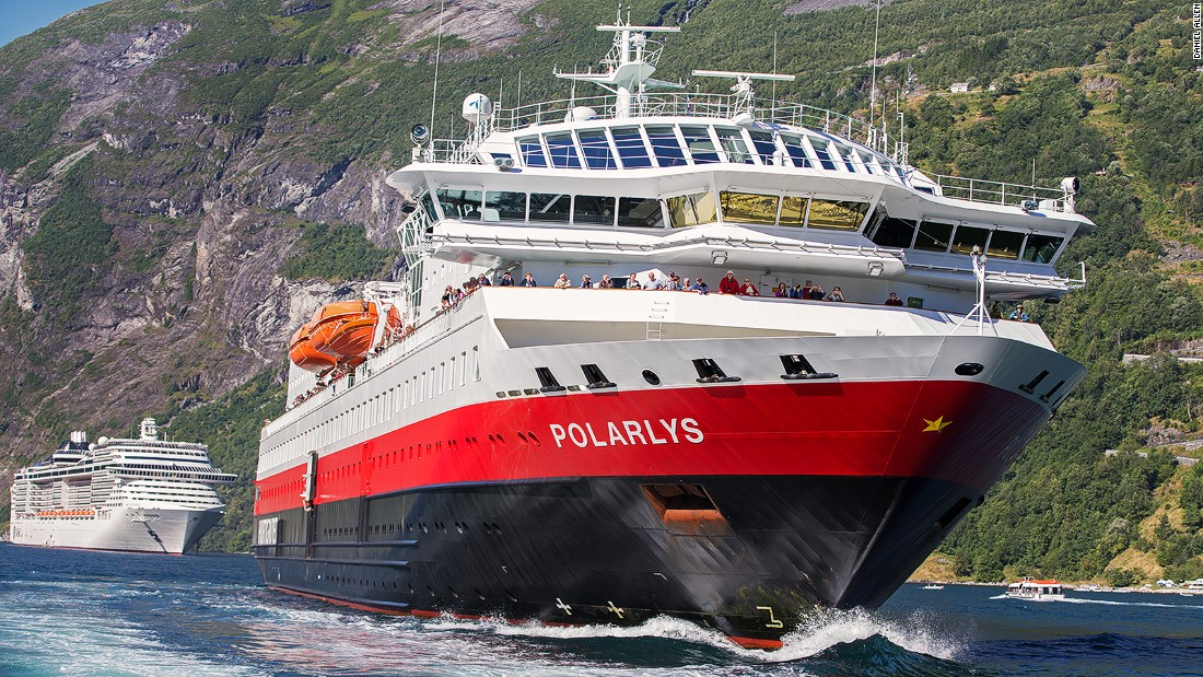 "Decked out in their distinctive red, white and black livery, Hurtigruten's well-equipped ""working"" ships are robust enough to handle the vagaries of Arctic weather, yet small enough to explore the intricacies of Norway's heavily indented coastline."