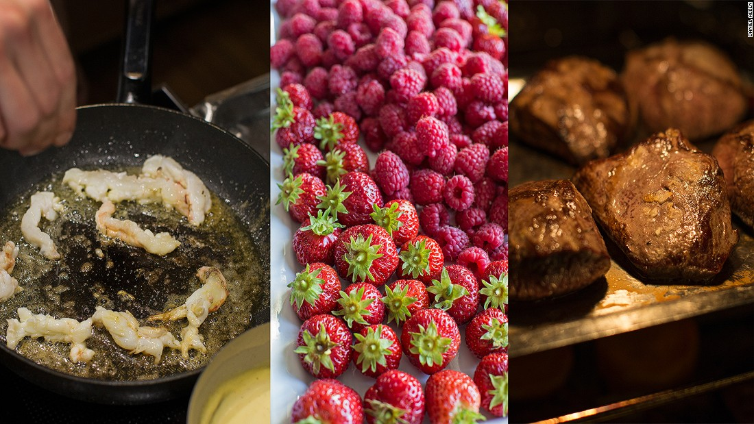 Norwegian cuisine with an international twist, much of the food served aboard Hurtigruten ships is locally sourced. This includes strawberries from Valldalen, reindeer, Arctic char, sea buckthorne, cloudberries, king crabs and scallops.