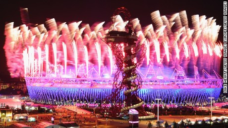 LONDON, ENGLAND - JULY 27:  Fireworks over the Olympic Stadium during the Opening Ceremony at the Olympic Park on July 27, 2012 in London, England.  (Photo by Mike Hewitt/Getty Images)