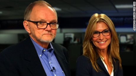 Carol Costello says her former news director Ron Bilek, left, was tough on her, but he taught her the ropes of television news.  After not seeing each other for more than 25 years, they reunited where they worked together at WSYX-TV in Columbus, Ohio on October 1, 2015.