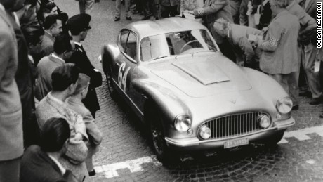 Anna Maria Peduzzi in her FIAT 8V Zagato at the start of the 1956 Coppa Int. Della Dama.