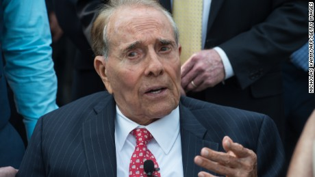 Former US Senator and presidential candidate Bob Dole attends a ceremony marking the 70th anniversary of the Allied Forces victory over Japan in the Pacific at the World War II Memorial in Washington, DC, on September 2, 2015.