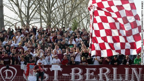 Fans of BFC Dynamo fly a huge flag at  a Regionalliga Nordost match against FSV Zwickau in 2014.