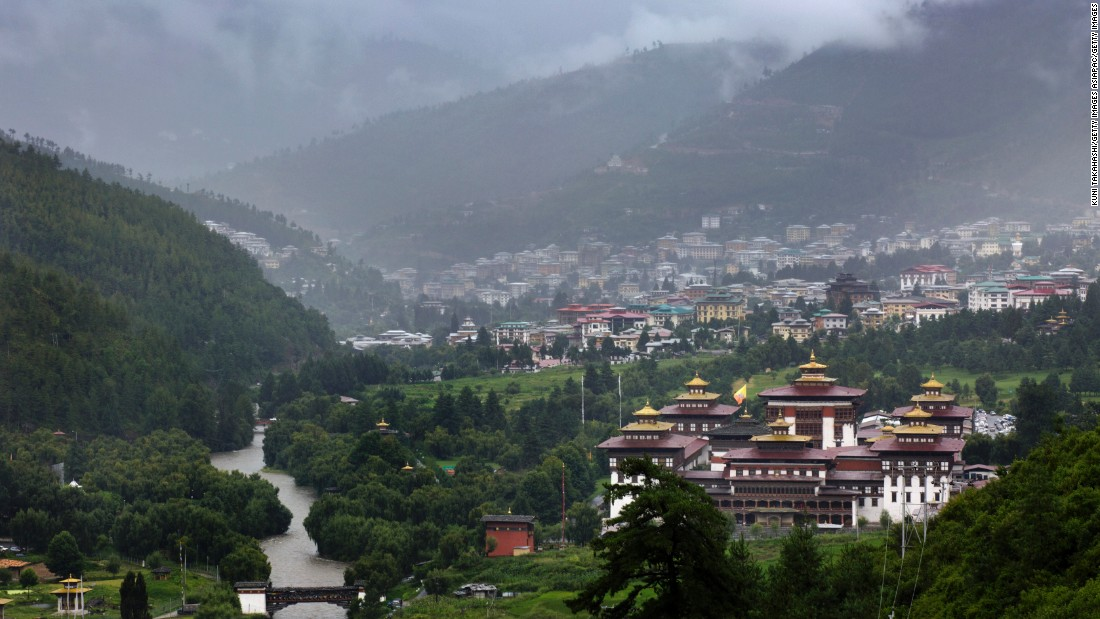 Tashichho Dzong (right) is a focal point in Bhutan's capital city of Thimphu. It's the main secretariat building and houses the offices of the king.