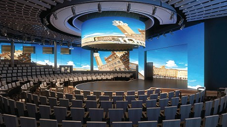 Ms Koningsdam's World Stage, pictured, will feature a 270-degree LED screen.