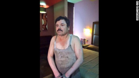 "An image provided Friday by an unidentified source purports to show Joaquin ""El Chapo"" Guzman Loera handcuffed after his detention in a place in Mexico not yet revealed by authorities."