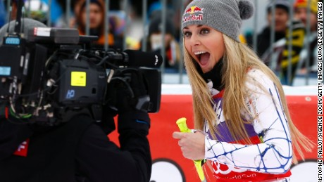 Never camera shy. Lindsey Vonn reacts to clinching her 73rd World Cup win with a super-G success at Altenmarkt-Zauchensee in Austria.