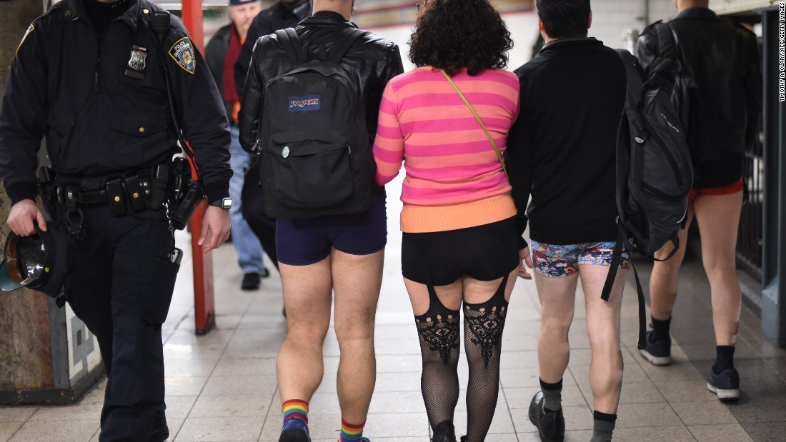 "People in New York City participate in the ""No Pants Subway Ride"" on Sunday, January 10. The annual event, <a href=""http://improveverywhere.com/missions/the-no-pants-subway-ride/"" target=""_blank"">started in 2002 by Improv Everywhere</a> in New York, has spread to other cities across the globe. People ride the subway dressed in normal winter clothes without pants -- all while keeping a straight face."
