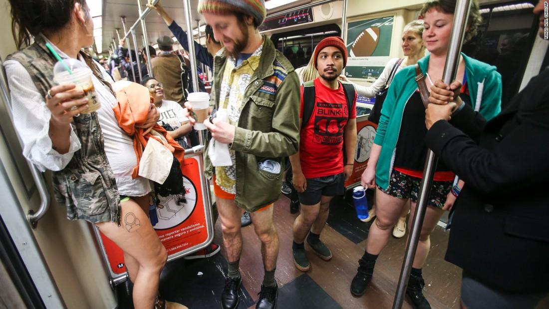 Los Angeles participants ride a Metro train.