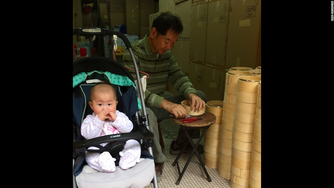 "HONG KONG: Helping out grandpa at the dim sum basket shop. Photo by CNN's Brad Olson <a href=""http://instagram.com/cnnbrad"" target=""_blank"">@cnnbrad</a>."