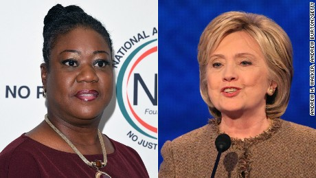 Sybrina Fulton and Hillary Clinton are pictured in this composite image.