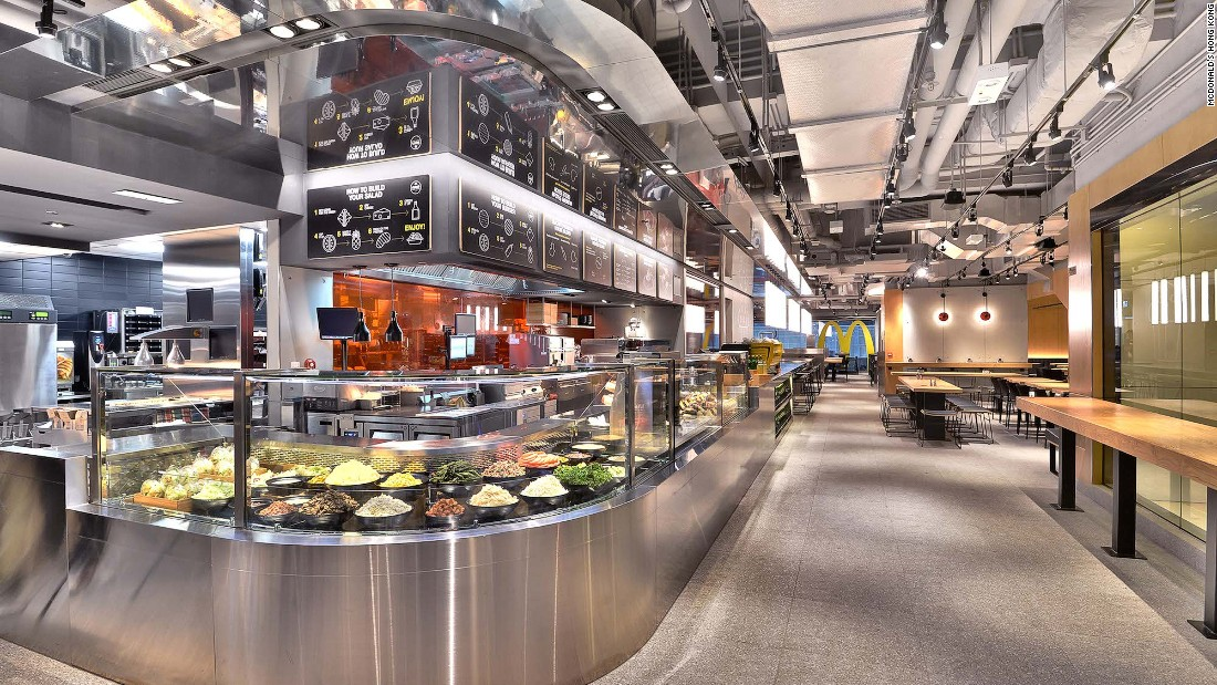 "The world's first McDonald's Next -- part of the brand's efforts to be ""modern and progressive"" --  opened recently in Hong Kong. Among its surprising offerings is a salad bar filled with 19 ingredients including that all-important super food, quinoa."