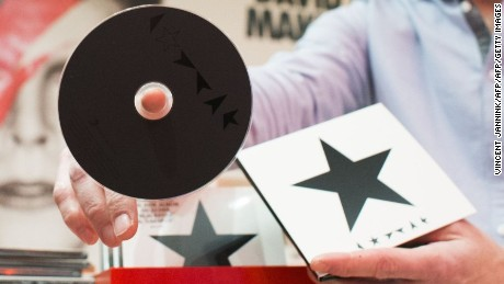 "The new album of British singer David Bowie, entitled Blackstar (stylised as *), is displayed during the exhibition ""David Bowie is"", at the museum shop of the Groninger Museum in Groningen, The Netherlands, on January 7, 2016. / AFP / ANP / Vincent Jannink / Netherlands OUT        (Photo credit should read VINCENT JANNINK/AFP/Getty Images)"