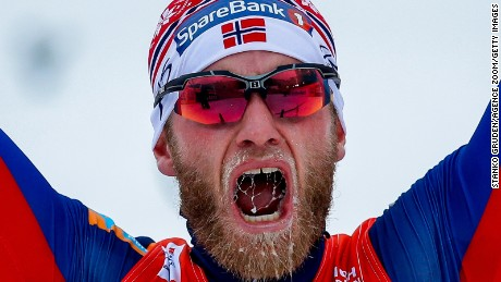 VAL DI FIEMME, ITALY - JANUARY 10: (FRANCE OUT) Martin Johnsrud Sundby of Norway takes 1st place during the FIS Nordic World Cup Men's and Women's Cross Country Tour de Ski on January 10, 2016 in Val di Fiemme, Italy. (Photo by Stanko Gruden/Agence Zoom/Getty Images)