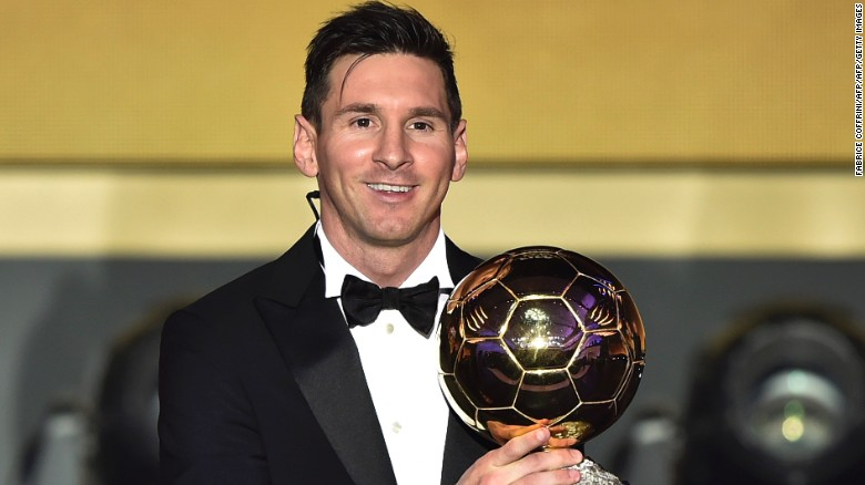 FC Barcelona and Argentina's forward Lionel Messi poses with trophy after receiving the 2015 FIFA Ballon dOr award for player of the year during the 2015 FIFA Ballon d'Or award ceremony at the Kongresshaus in Zurich on January 11, 2016. AFP PHOTO / FABRICE COFFRINI / AFP / FABRICE COFFRINI        (Photo credit should read FABRICE COFFRINI/AFP/Getty Images)