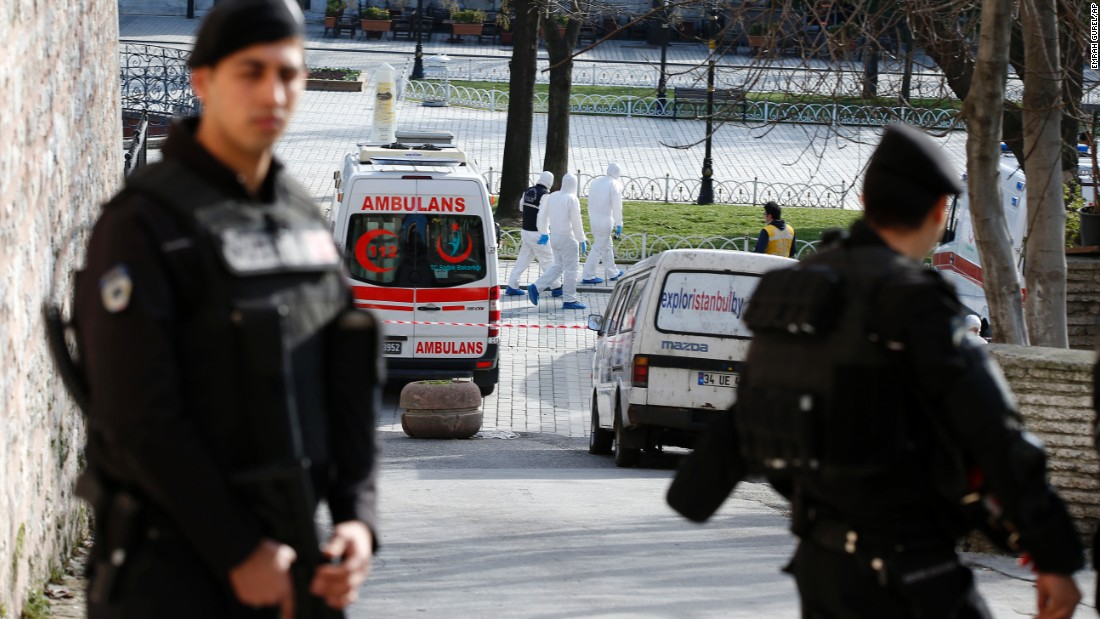 Police investigate the scene of an explosion in central Istanbul on Tuesday, January 12. A suicide bomber killed 10 people and injured more than a dozen others in a popular tourist area.