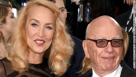 BEVERLY HILLS, CA - JANUARY 10:  News Corp. CEO Rupert Murdoch and model Jerry Hall attend the 73rd Annual Golden Globe Awards held at the Beverly Hilton Hotel on January 10, 2016 in Beverly Hills, California.  (Photo by Jason Merritt/Getty Images)