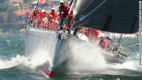 SYDNEY, AUSTRALIA - DECEMBER 26:  'Wild Oats XI' make final adjustments prior to the 2014 Sydney To Hobart on December 26, 2014 in Sydney, Australia.  (Photo by Brendon Thorne/Getty Images)