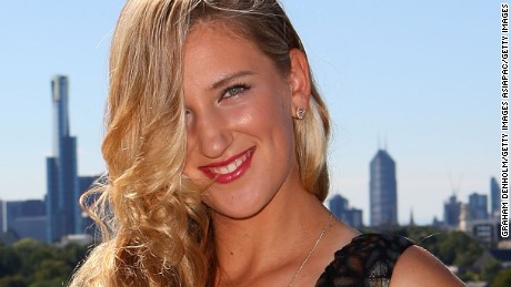 MELBOURNE, AUSTRALIA - JANUARY 15:  Tennis player Victoria Azarenka poses after meeting and being styled by Singer and TV presenter Dannii Minogue in one of her Project D dresses ahead of next week's Australian Open at The Cullen Hotel on January 15, 2011 in Melbourne, Australia.  (Photo by Graham Denholm/Getty Images)