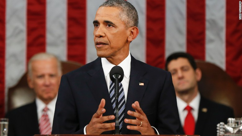 President Barack Obama delivers his State of the Union address before a joint session of Congress on Capitol Hill in Washington, Tuesday, Jan. 12, 2016. (AP Photo/Evan Vucci, Pool)