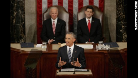WASHINGTON, DC - JANUARY 12:  U.S. President Barack Obama delivers the State of the Union speech before members of Congress in the House chamber of the U.S. Capitol January 12, 2016 in Washington, DC. In his last State of the Union, President Obama reflected on the past seven years in office and spoke on topics including climate change, gun control, immigration and income inequality. Also pictured are Vice President Joe Biden (L) and U.S. Speaker of the House Rep. Paul Ryan (R-WI).  (Photo by Alex Wong/Getty Images)