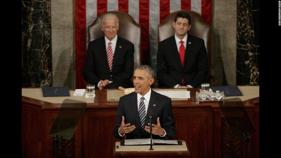 Vice President Joe Biden and House Speaker Paul Ryan listen as Obama delivers his address.
