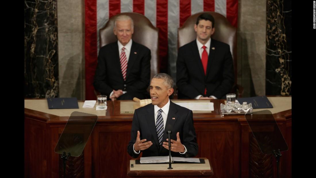 Vice President Joe Biden and House Speaker Paul Ryan listen as Obama delivers his address.